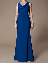 cheap -A-Line V Neck Floor Length Chiffon / Stretch Satin Bridesmaid Dress with Bow(s)