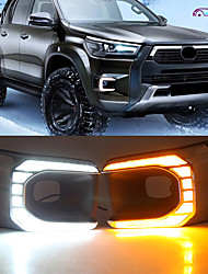 cheap -OTOLAMPARA Left/Right 2 Sides Car LED Daytime Running Light Bulbs for Toyota Hilux 2020-2022 Year White Amber Double Color Turn Signal DRL Function IP67 Waterproof Chrome Shell