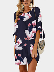 cheap -cross-border supply of 2020 summer new products fashion middle-sleeve print tie round neck dress female 0804 0805