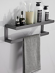 cheap -Multifunctional Towel Rack Wall-mounted Double-layer Bathroom Shelf Aluminum 1PC