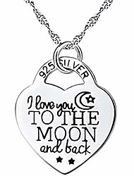 cheap -chain length 50cm pendant 2.6 * 2cm heart pendant necklace silver 1 pack earrings jewelry gift girl birthday present