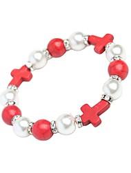 cheap -cross bracelets turquoise flash diamond pearl single circle bracelet  jewelry