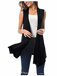 cheap -women's sleeveless draped open front cardigan vest asymmetric hem blouse tops black