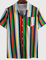 cheap -Men's Shirt Striped Graphic Prints Button-Down Short Sleeve Casual Tops Basic Fashion Breathable Comfortable Green