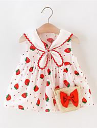 cheap -Baby Girls' Boho Red Floral Print Sleeveless Above Knee Dress Red Blushing Pink