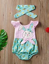 cheap -Baby Girls' Basic Print Print Sleeveless Romper Green