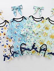 cheap -Baby Girls' Basic Floral Bow Print Long Sleeve Romper White Yellow Light Green