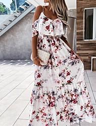 cheap -Women's Strap Dress Maxi long Dress Red flower Apricot flower Sleeveless Pattern Summer Casual 2021 S M L XL XXL
