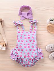 cheap -Baby Girls' Basic Print Print Sleeveless Romper Fuchsia