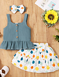 cheap -3-Piece Baby Girls' Active Floral Ruffle Print Sleeveless Knee-length Dress Blue