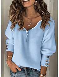 cheap -Women's Stylish Knitted Solid Color Women's Hoodies Long Sleeve Sweater Cardigans V Neck Fall Winter White Blue Gray