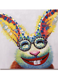 cheap -Oil Painting Handmade Hand Painted Wall Art Mintura Zodiac Rabbit Cartoon Animal Home Decoration Decor Rolled Canvas No Frame Unstretched