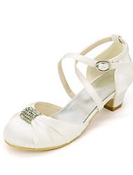 cheap -Girls' Heels Flower Girl Shoes Satin Little Kids(4-7ys) Big Kids(7years +) Party & Evening Rhinestone White Ivory Spring Summer