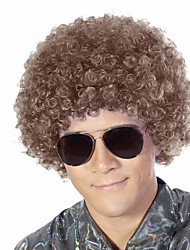 cheap -halloweencostumes 70s 80s costume wig rock wig Synthetic Wig Afro Curly Wig Short Brown Pink Blue Green A1 Synthetic Hair Men's Cosplay Party Fashion Red Black (Only Wig Without Glasses)