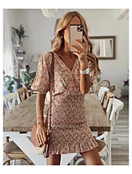cheap -2021 european and american cross-border spring and summer new style small floral print bag hip fashion short dress 8401