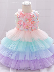 cheap -Baby Girls' Basic Floral Layered Mesh Bow Sleeveless Knee-length Dress Blushing Pink Green
