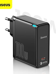 cheap -BASEUS 100 W Output Power USB C PD Charger Fast Charger Phone Charger GaN Charger Laptop Charger Portable Charger Multi-Output Fast Charge For iPad Cell Phone Laptop Tablet