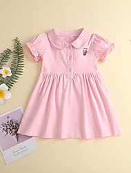 cheap -Baby Girls' Basic Tiger Solid Colored Embroidered Short Sleeve Dress Blushing Pink