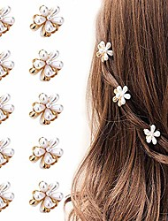 cheap -mini pearl hair barrettes for women girls, 10pcs sweet artificial pearl hair clips, flower pins clips for party wedding daily