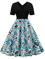 cheap -Audrey Hepburn Polka Dots 1950s Vintage Vacation Dress Dress Rockabilly Prom Dress Women's Costume White / Blue Vintage Cosplay Homecoming Prom Short Sleeve Knee Length