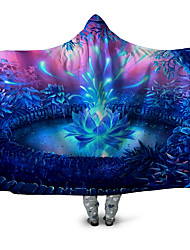cheap -Microfiber Throw Blanket Wearable Hoodie For Couch Chair Sofa Bed Lotus Botanical/Plants Animals Soft Fluffy Warm Cozy Plush Autumn Winter