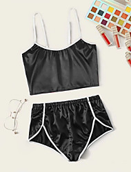 cheap -Women's Pajamas Sets Home Party Daily Backless Pure Color Polyester Satin Simple Casual Soft Strap Top Shorts Spring Summer Strap