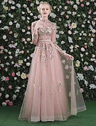 cheap -A-Line Cut Out Floral Prom Formal Evening Dress High Neck Long Sleeve Floor Length Organza with Embroidery 2021