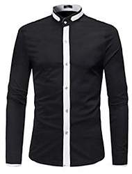 cheap -men's casual shirts 2021 brand fahsion color matching long-sleeved shirt stand collar button closure top youth teens eu size xl