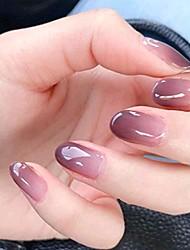 cheap -yizaca glossy gradient fake nails purple short oval press on nails full cover acrylic false nail clip artificial nails for women and girls (24pcs) (set g)