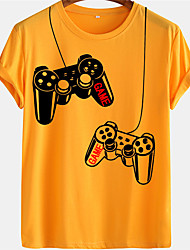 cheap -Men's Unisex Tee T shirt Hot Stamping Graphic Prints Game Console Plus Size Short Sleeve Casual Tops 100% Cotton Basic Designer Big and Tall White Blue Yellow