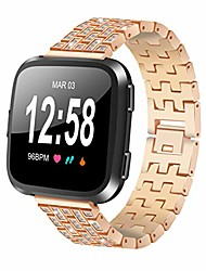 cheap -Smart watch band compatible for fitbit versa / versa 2 / versa lite / se smartwatch, stainless steel metal strap replacement accessories adjustable strap (rose gold)