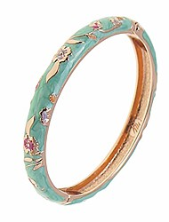 cheap -ujoy cloisonne bracelets indian flower enameled jewelry open cuff clasp hinged bangle for women 55b31 green