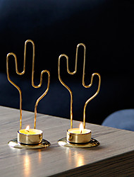 cheap -simple and modern european home decoration desktop ornaments golden metal cactus candle holder candle cup one shipment