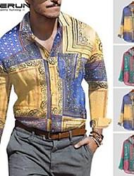cheap -men's casual shirts incerun 2021 vintage men shirt printed long sleeve ethnic style lapel neck tops vacation hawaiian brand s-5xl