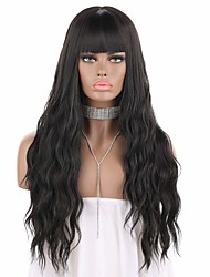 cheap -eNilecor Short Fluffy Bob Kinky Straight Hair Wigs with Bangs Synthetic Heat Resistant Women Fashion Hairstyles Custom Cosplay Party Wigs  Wig Cap (Black)