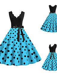 cheap -Audrey Hepburn Polka Dots 1950s Vintage Vacation Dress Dress Rockabilly Prom Dress Women's Costume Purple / Blue / Fuchsia Vintage Cosplay Homecoming Prom Sleeveless Knee Length