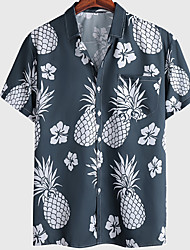 cheap -Men's Shirt Floral Graphic Prints Pineapple Button-Down Short Sleeve Casual Tops Basic Fashion Breathable Comfortable Navy Blue