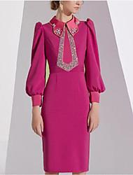cheap -Sheath / Column Elegant Vintage Wedding Guest Formal Evening Dress Shirt Collar Long Sleeve Knee Length Chiffon with Crystals Beading 2021