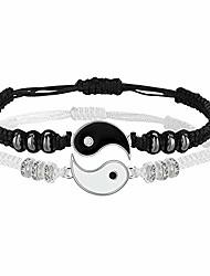 cheap -best friend bracelets for 2 matching yin yang adjustable cord bracelet for bff friendship relationship boyfriend girlfriend valentines gift (silver)
