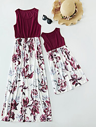cheap -Mommy and Me Floral Print Casual Sleeveless Maxi Dresses