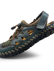 cheap -Men's Sandals Crochet Leather Shoes Flat Sandals Casual Beach Roman Shoes Daily Outdoor Walking Shoes Nappa Leather Synthetics Breathable Handmade Non-slipping Booties / Ankle Boots Dark Brown Black