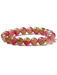 cheap -veinti+1 natural watermelon tourmaline crystal energy stretch bracelet for women/girls (12mm)