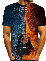 cheap -Men's Tee T shirt 3D Print Graphic Prints Guitar Print Short Sleeve Daily Tops Casual Designer Big and Tall Blue