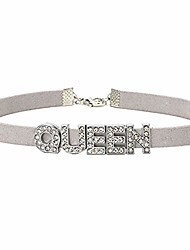 cheap -yubika queen choker necklace collar for women girls kids gift charm rhinestone crystal letters alphabet fashion bridesmaid bridal jewelry silver plated decorations party accessory