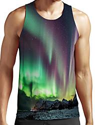 cheap -Men's Unisex Tank Top Undershirt Shirt 3D Print Scenery Graphic Prints Plus Size Print Sleeveless Casual Tops Basic Fashion Designer Breathable Round Neck Green / Sports / Summer