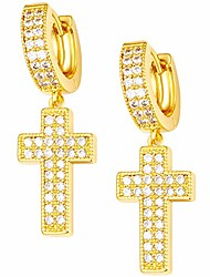 cheap -18k gold plated girls earrings pave cz gold cross earrings for women 22mm hoop earrings for men, dangle earring hip hop hoop hinged hanging earrings