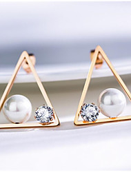 cheap -Women's Pearl Earrings Geometrical Fashion Stylish Earrings Jewelry Rose Gold / White For Anniversary Date Birthday Festival 1 Pair