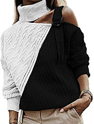 cheap -kaxindeb womens turtleneck cold shoulder sweaters color block long sleeve hollow out pullover jumper tops (black,large)
