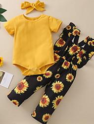 cheap -Baby Girls' Basic Sun Flower Floral Short Sleeve Regular Clothing Set Yellow