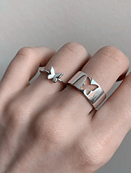 cheap -Couple Rings Silver Gold Alloy Butterfly Simple Punk Sweet 2pcs One Size / Women's / Couple's / Band Ring